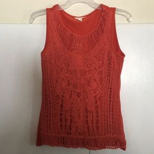 Red orange tank top with beautiful design in front